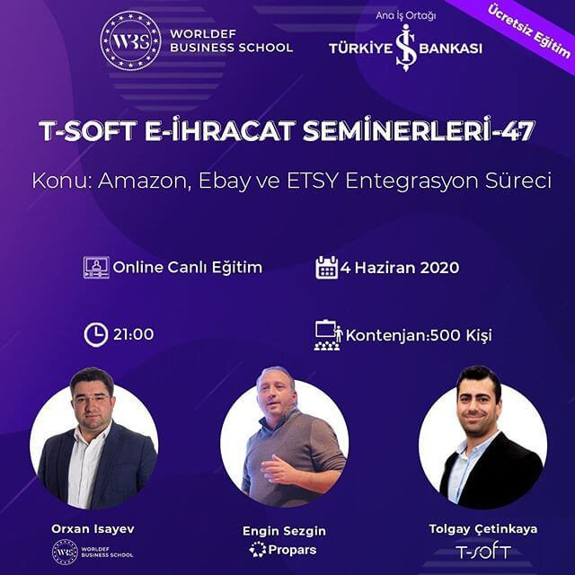 """In the week of Cross-Border E-Commerce Webinars, we will discuss the subject of """"Integration Process of Amazon, eBay and Etsy"""". Our guest will be Engin Sezgin from Propars."""